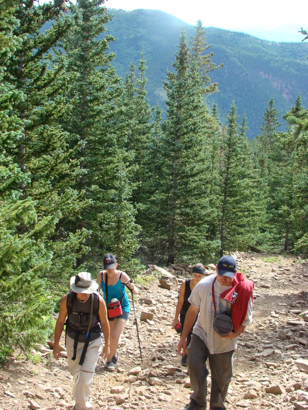 Group of students hiking a mountain in Colorado.