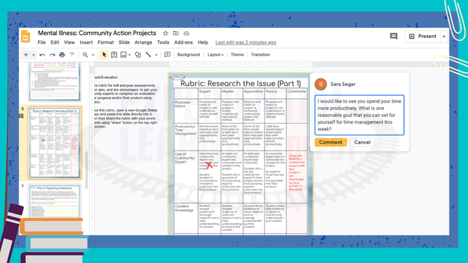 How to assess project-based learning experiences virtually using Google Slides project-based learning rubrics.