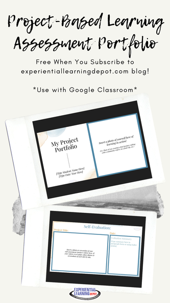 Head to my experientiallearningdepot.com and subscribe and we will send this project-based learning assessment portfolio for high school students to you for free!