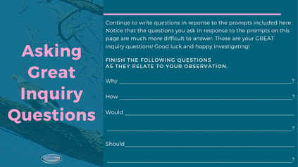 Free inquiry question scaffolding activity when you subscribe to Experiential Learning Depot