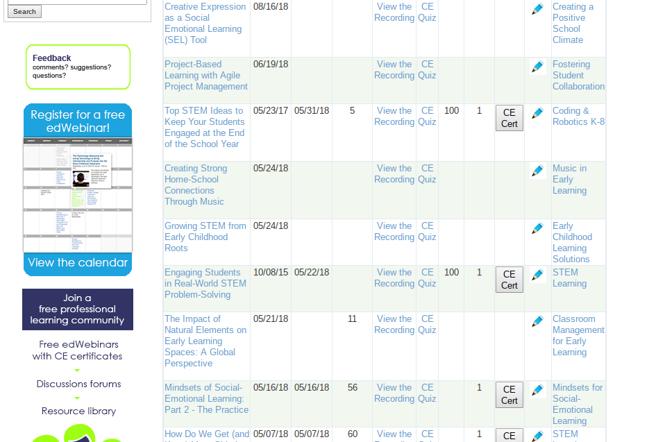 A screenshot of my Ed Web dashboard with a list of webinars I have attended, CEU certificates awarded, date aired, etc.
