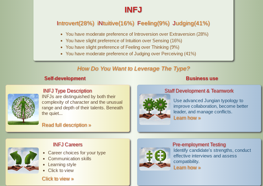 An example of the results of an online Myers Briggs assessment