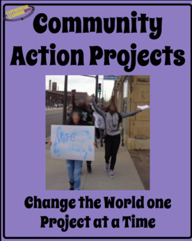 This photo is a TpT, Experiential Learning Depot, product cover for Community Action Projects. The cover has a photo of students walking down the street with signs for a student-led demonstration.
