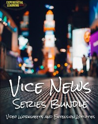 A cover photo for a TpT product from Experiential Learning Depot called Vice News Series Bundle. The cover is a photo of a city at night.
