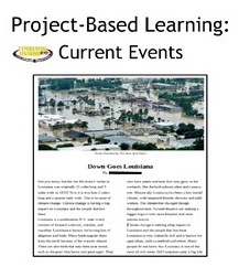 A cover photo of a project-based learning project on current events. There is a title and a photo of a student-created news article.