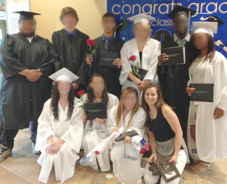 A picture of me with my advisory group at graduation.